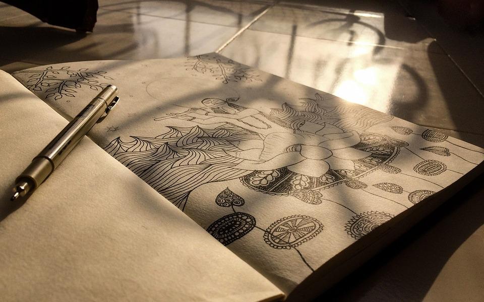 Paper, Note, Page, Art, Artist, Krishna, Drawing