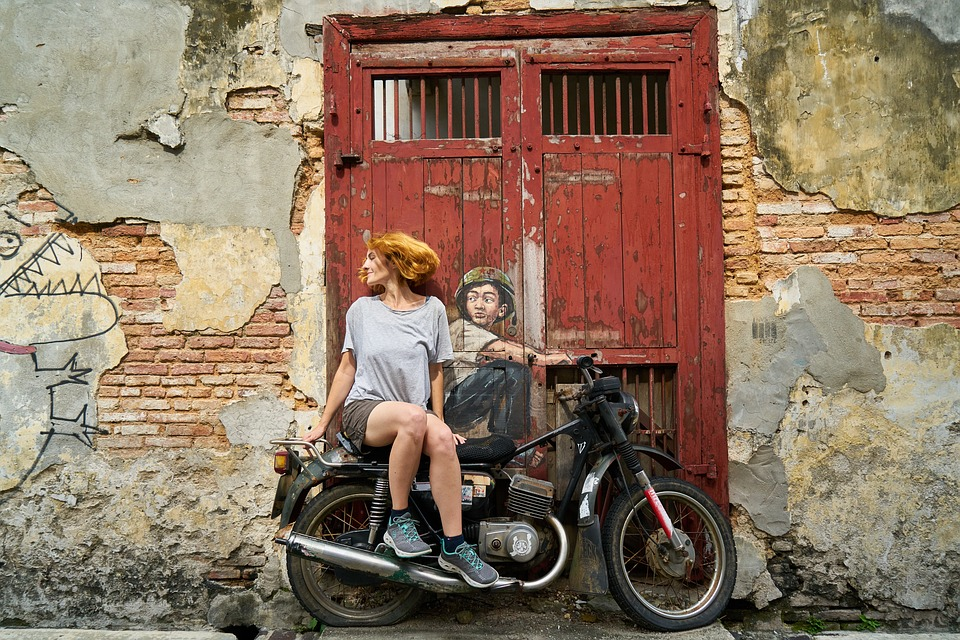Motorcycles, Woman, Graffiti, Art, Artist, Paint
