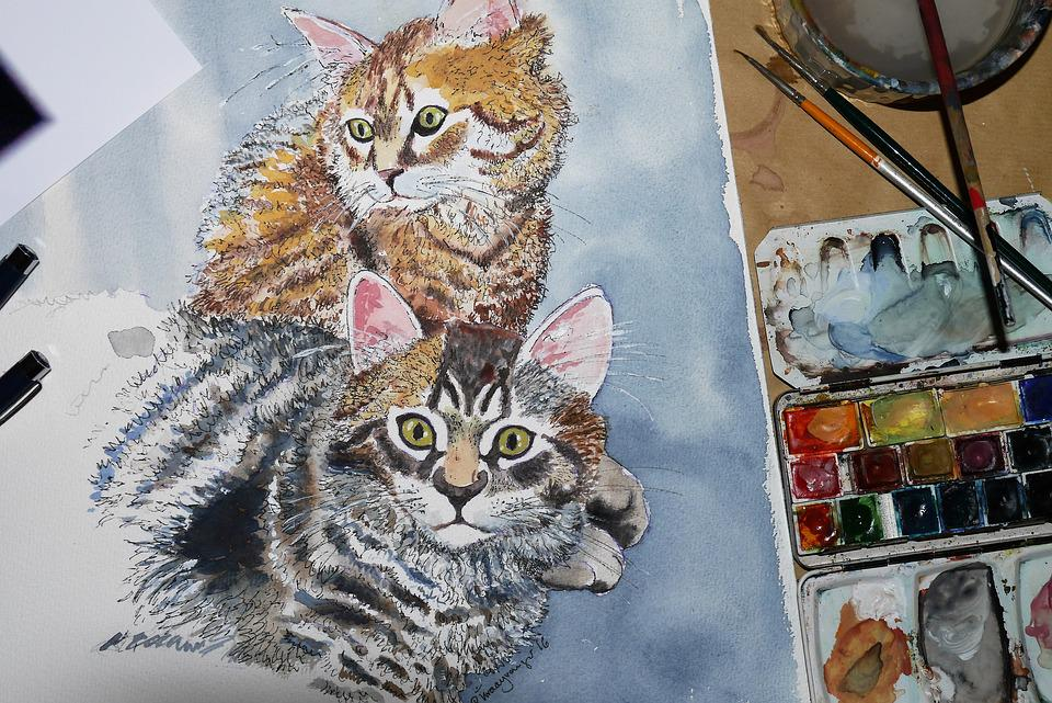 Cat, Paint, Painting, Artwork, Animal, Art, Watercolour
