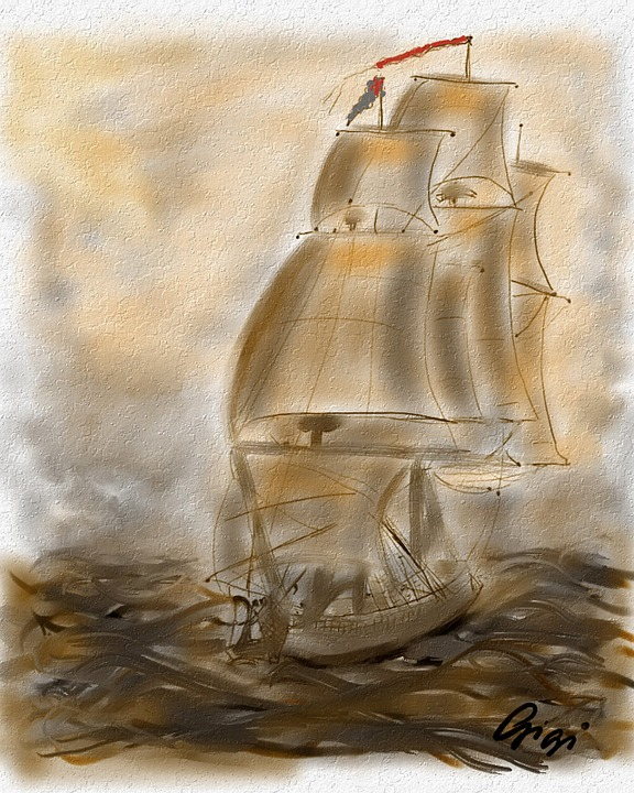 Sailing Ship, Painted With Mouse, Art, Paint, Artwork