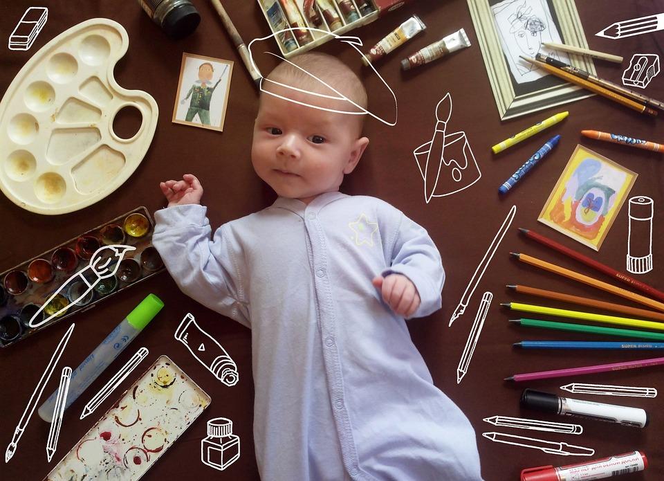 Babe, Newborn, Humor, Artist, Paint, Brush, Family