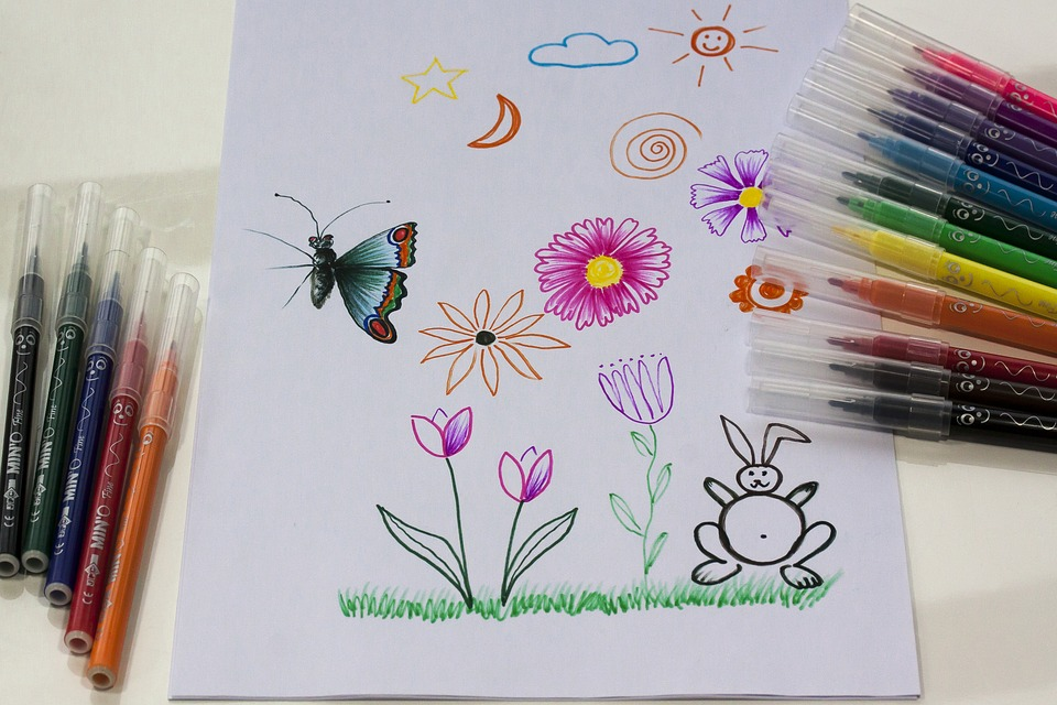 Felt Tip Pens, Children Drawing, Drawing, Image, Paint