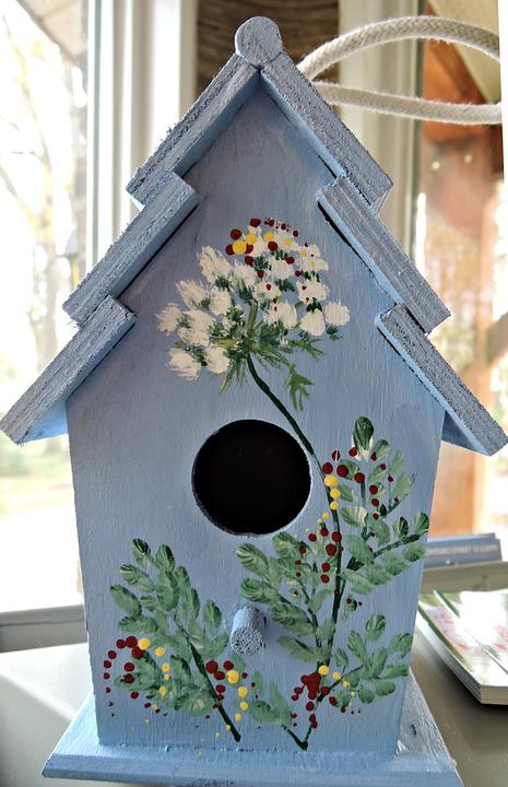 Wooden Birdhouse, Stenciled, Paint, Hand Painted