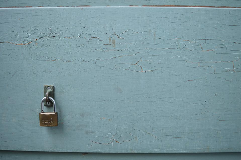 Lock, Door, Green, Paint, Texture, Entrance, Home