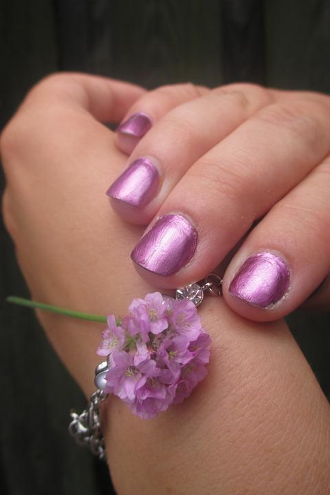 Nails, Hand, Jewel, Bracelet, Flower, Paint, Pink