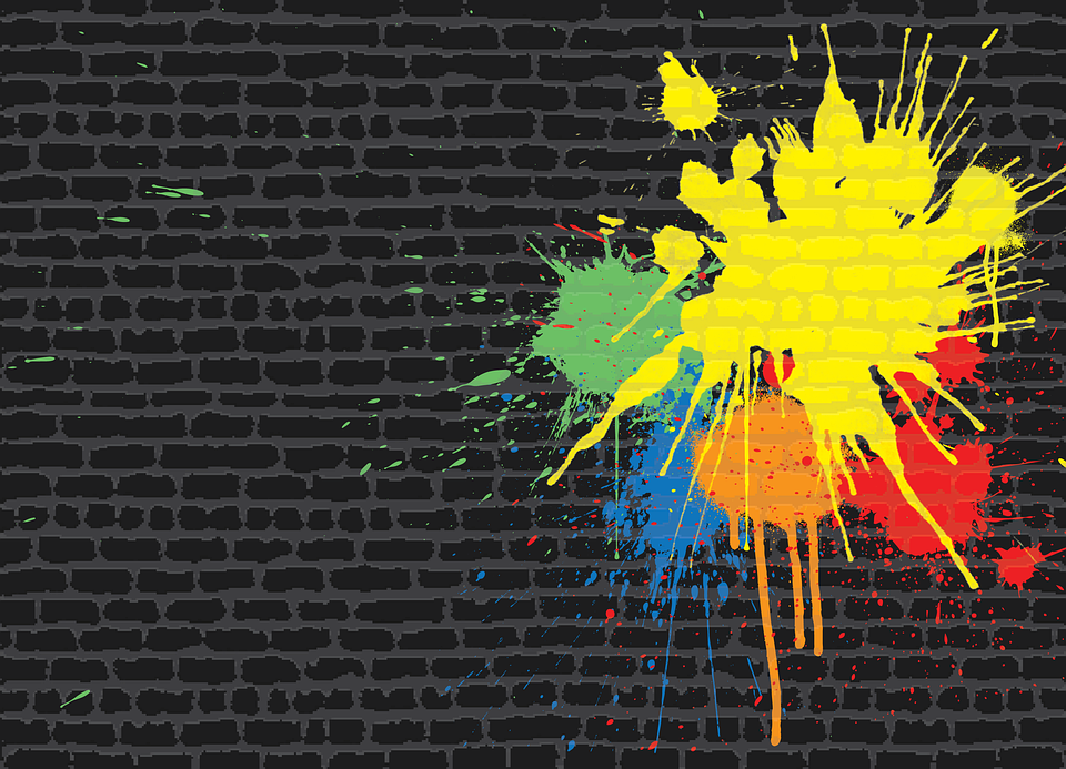 Paintball, Brick Wall, Spatter, Graffiti, Wall