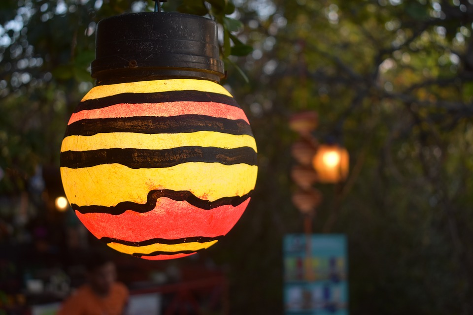 Lamp, Painted, Open Air, Colorful, Decoration, Painting