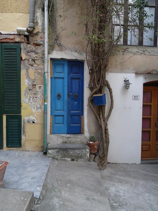 Door, Blue, Painted