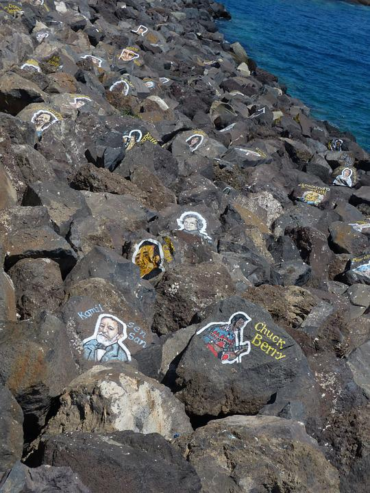 Shore Stones, Stones, Painted, Artwork, Artistically
