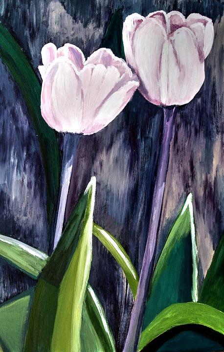 Painted Tulips, Acrylic Paint, Brush Strokes, Canvas