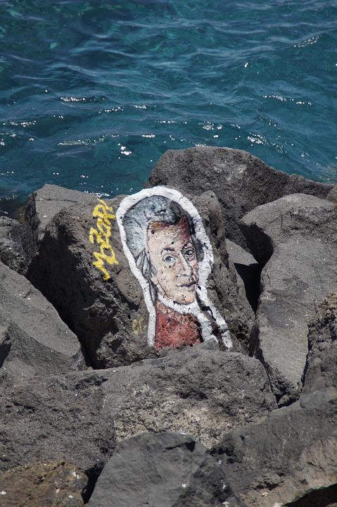 Mozart, Musician, Composer, Art, Painting, Stones
