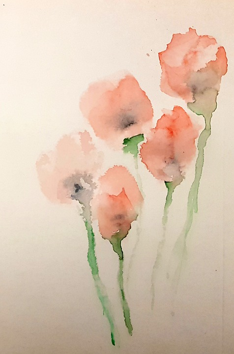 Flowers, Watercolor, Painting, Poppies, Artistic, Art