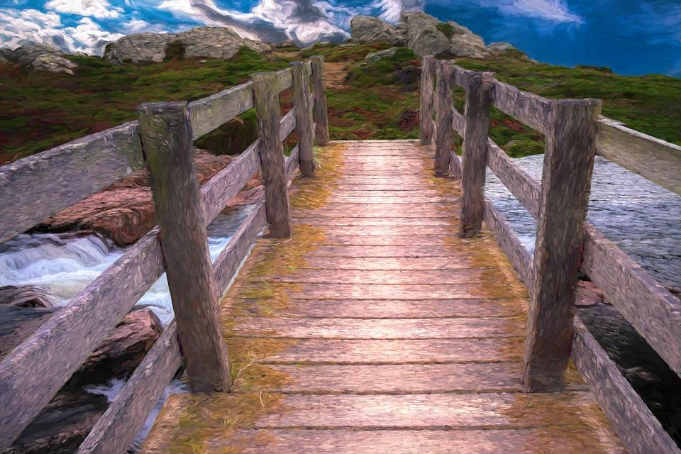 Bridge, Painting, Travel, Path, Digital Art, Art