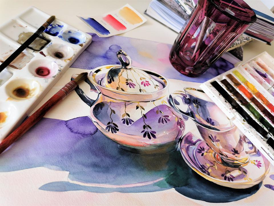 Painting, Watercolor, Porcelain, Paper, Colors, Brush