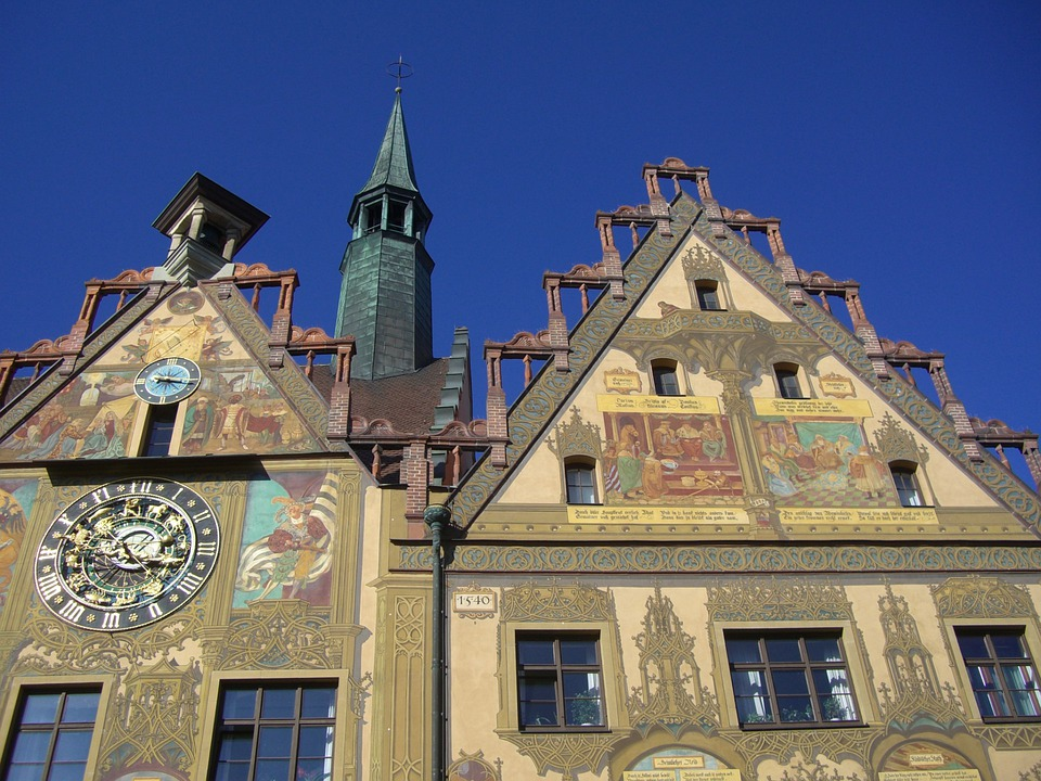 Town Hall, Ulm, Facade, Painting, Frescoes, Monument