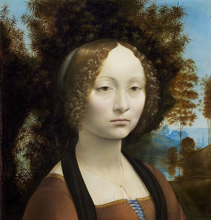 Ginevra De' Benci, Leonardo Da Vinci, Painting, Old