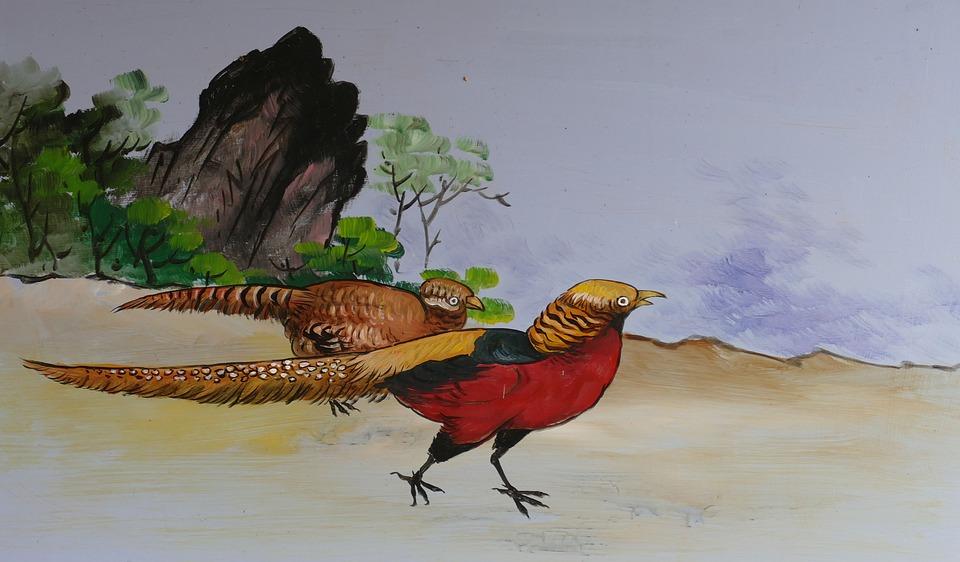 Image, Painting, Drawing, China, Taiwan, Bird, Pheasant