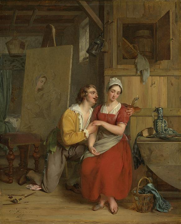 Painting, In Love, Persons, Couple, Historic, Canvas