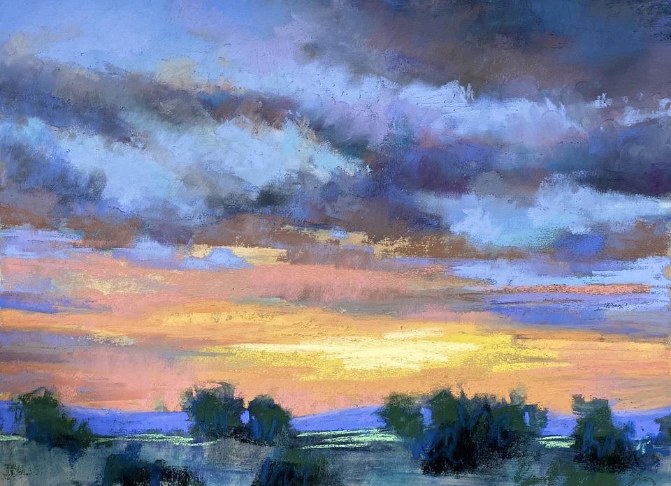 Soft Pastel, Painting, Landscape, Clouds, Sky