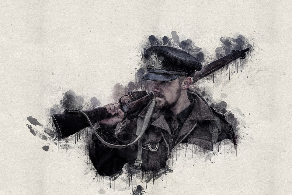Painting, Ink Stains, Man With Rifle, Soldier