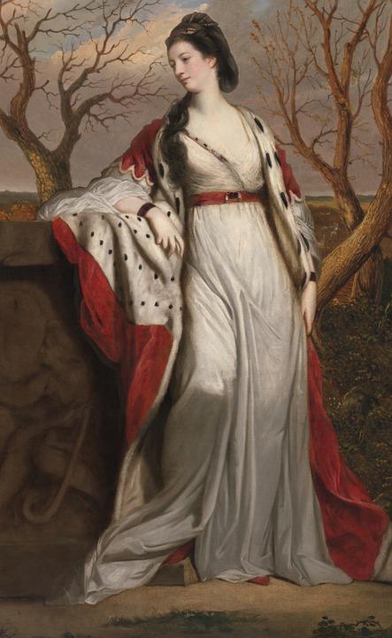 Portrait, Woman, Standing, Painting, Lady, Antique