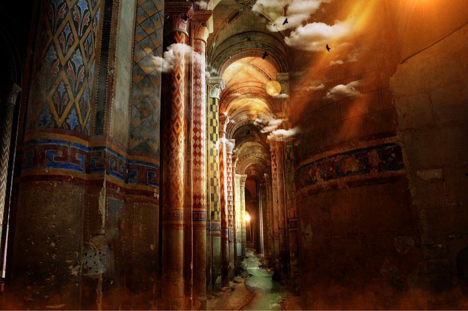 Temple, Columnar, Painting, Mural, Orient, Vault, Ruin