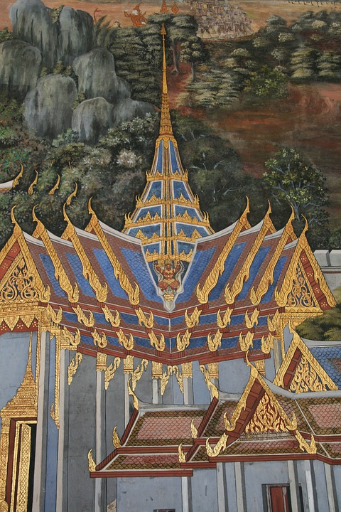 Temple, Painting, Colorful, Gold, Blue, White, Pointed