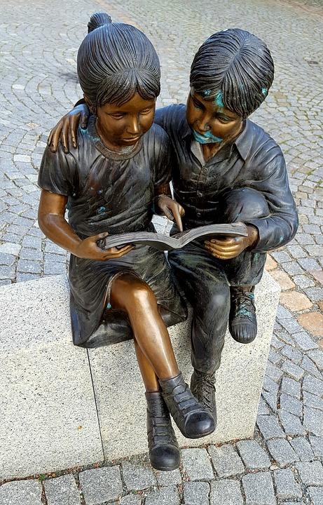 Bronze, Art, Sculpture, Pair, Children