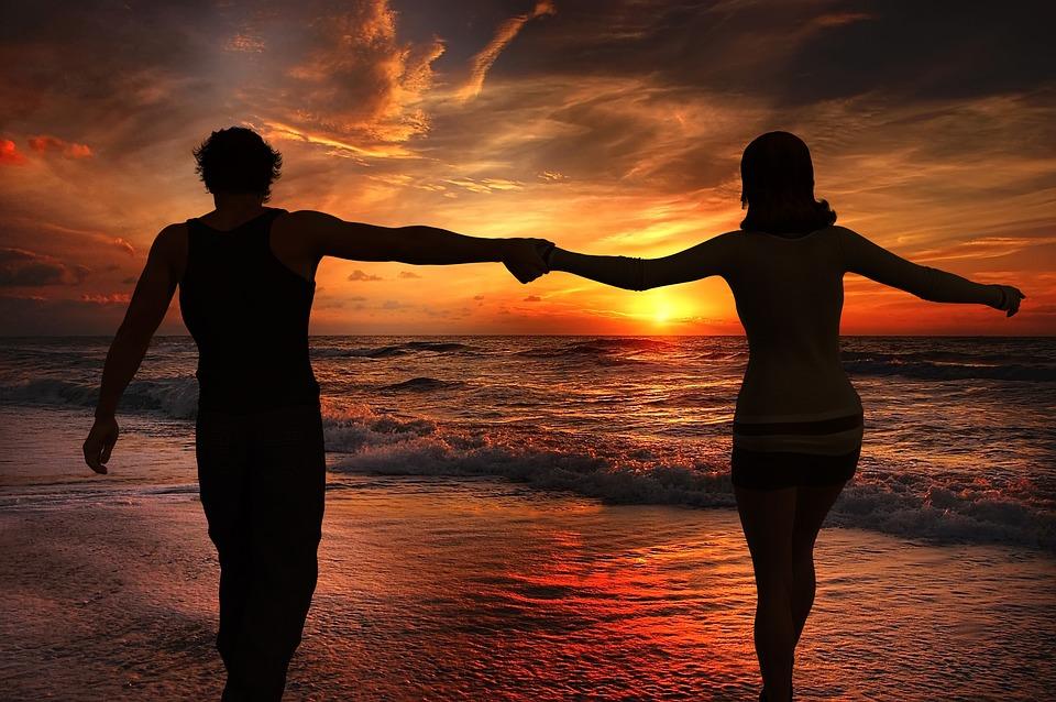 Sunset, Abendstimmung, Pair, Couple, Man, Woman