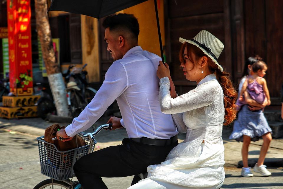 Vietnam, Pair, Beauty, Fashion, Bike, Hat, Screen