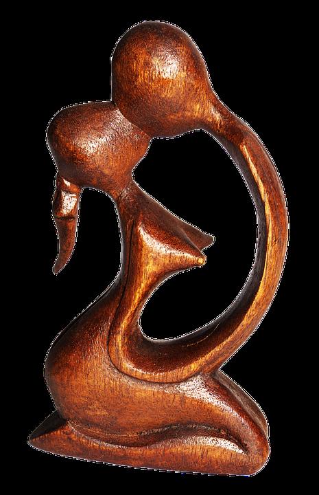 Pair, Lovers, Kiss, Figure, Holzfigur, Carved, Art
