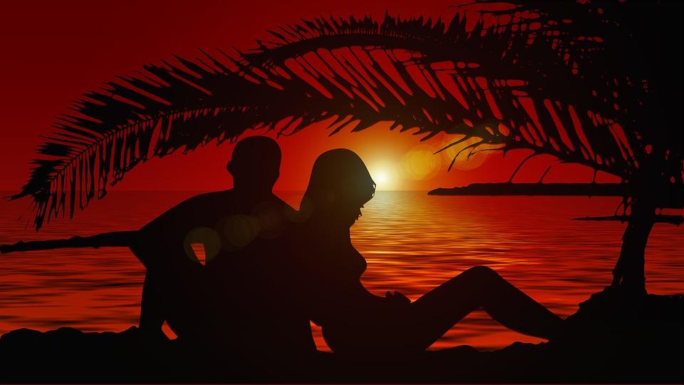 Lovers, Silhouette, Pair, Sunset, Tree, Longing, Love