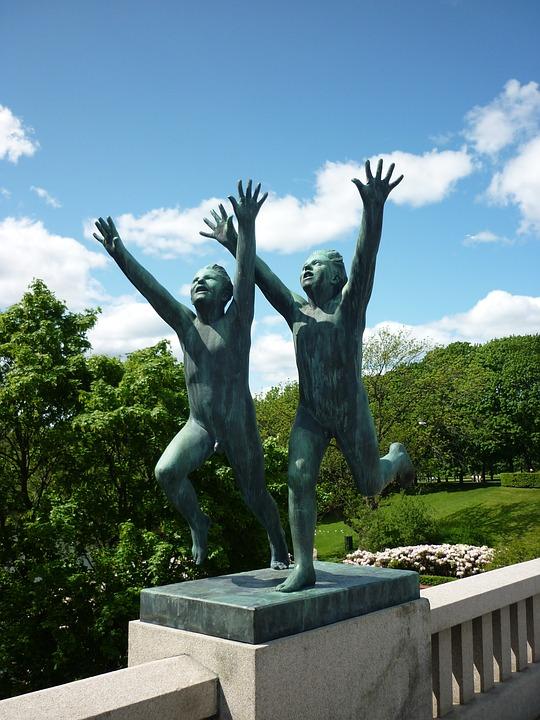 Oslo, Vigeland, Artwork, Stone Figure, Joy, Pair
