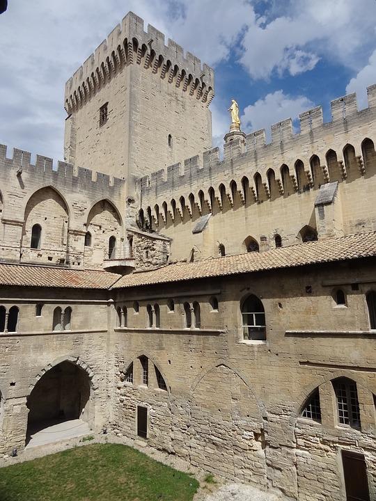 Palace, Avignon, South, France, Castle, Court