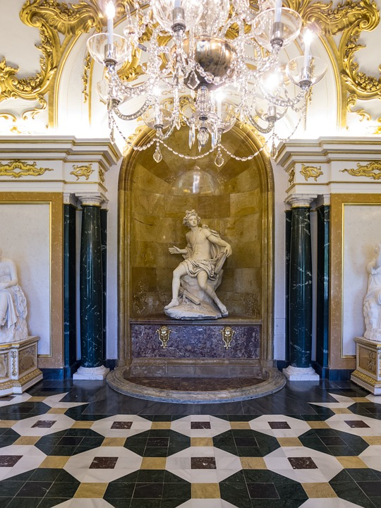 Statue, Palace, Europe, Madrid, Marble, Lamp, Museum