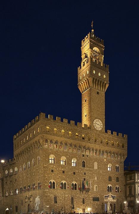 Castle, Palazzo, Palace, Night, Evening, Lights