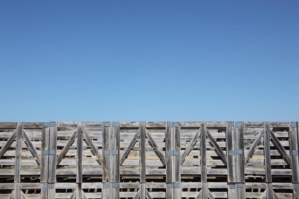 Pallets, Sky, Navarre, Aligned Pallets, Pallet Wall