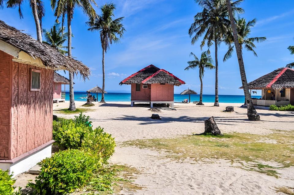 Palm, Bungalow, Hut, House, Summer, Sea, Ocean