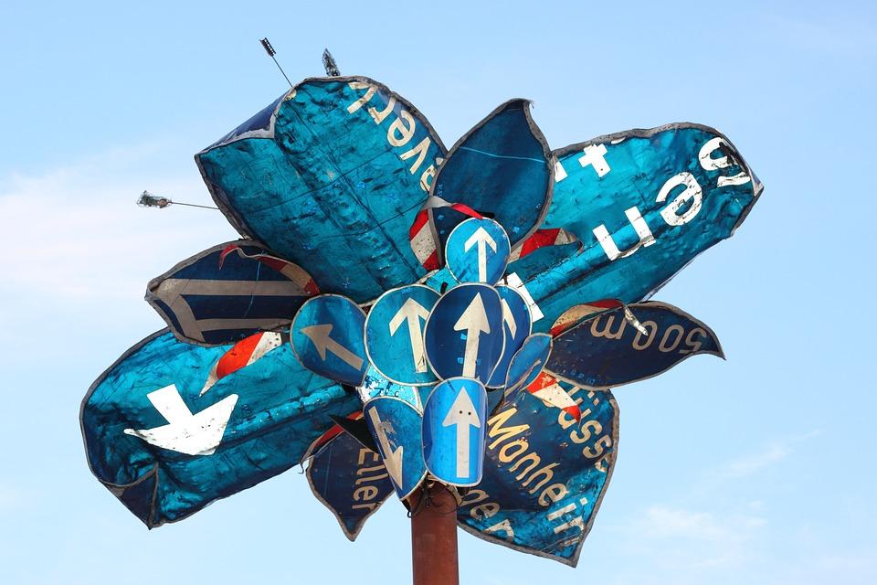 Traffic Sign, Palm, Road Sign, Arrow, Blue, Shield