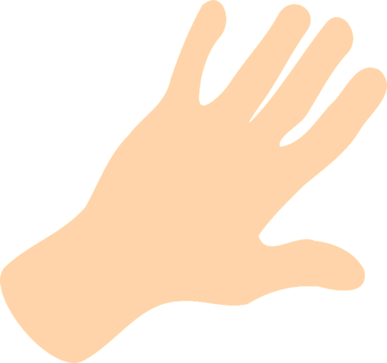 Hand, Palm, Fingers, Open, Spread, White