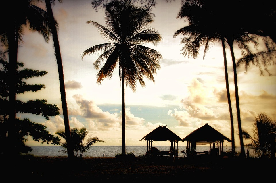 Thailand, Palm Trees, Sunset, Cottages, Clouds