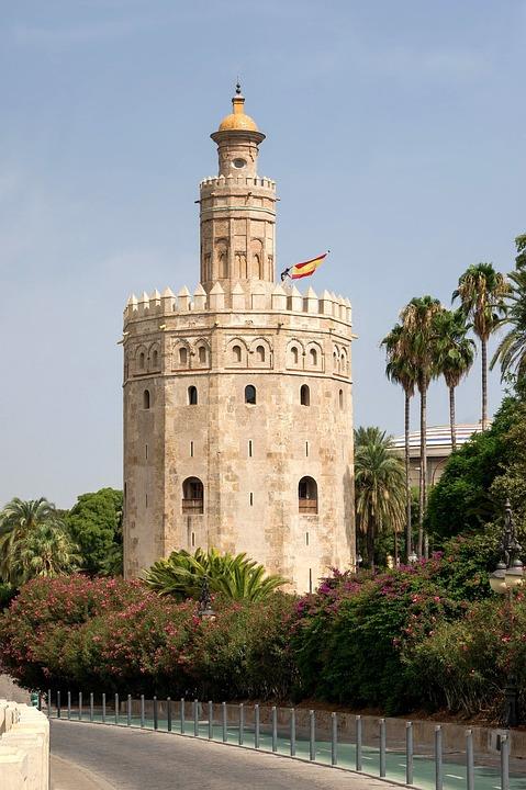 Seville, Spain, Sky, Clouds, Palms, Palm Trees, Castle