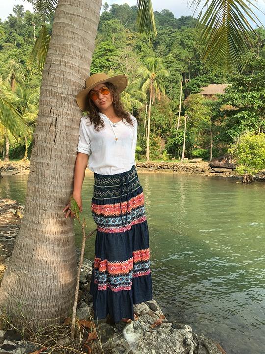 Girl, Palm Trees, Fashion, Style, Stylish Woman