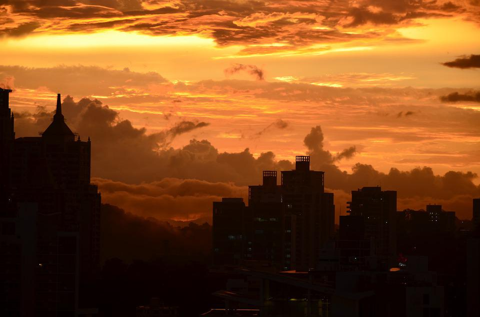 Sunset, Panama, Clouds, City, Skyscrapers