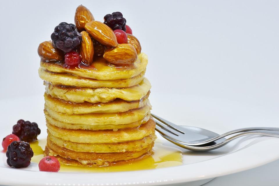 Pancake Honey Nuts Fruits Blackberries Breakfast