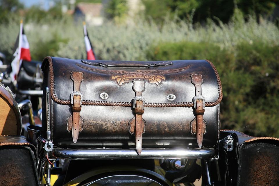 Motorcycle, Biker, Two Wheels, Pannier, Leather