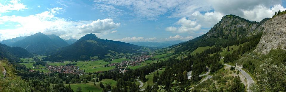 Germany, Allgäu, Bad Hindelang, Bavaria, Panorama