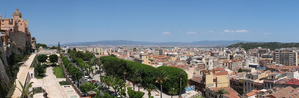 Cagliari, Sardinia, City Wall, Old Town, Wall, Panorama