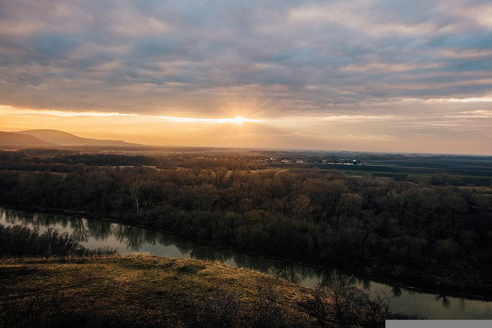 Sunset, River, Trees, Panorama, Sun, Sunlight, Dusk