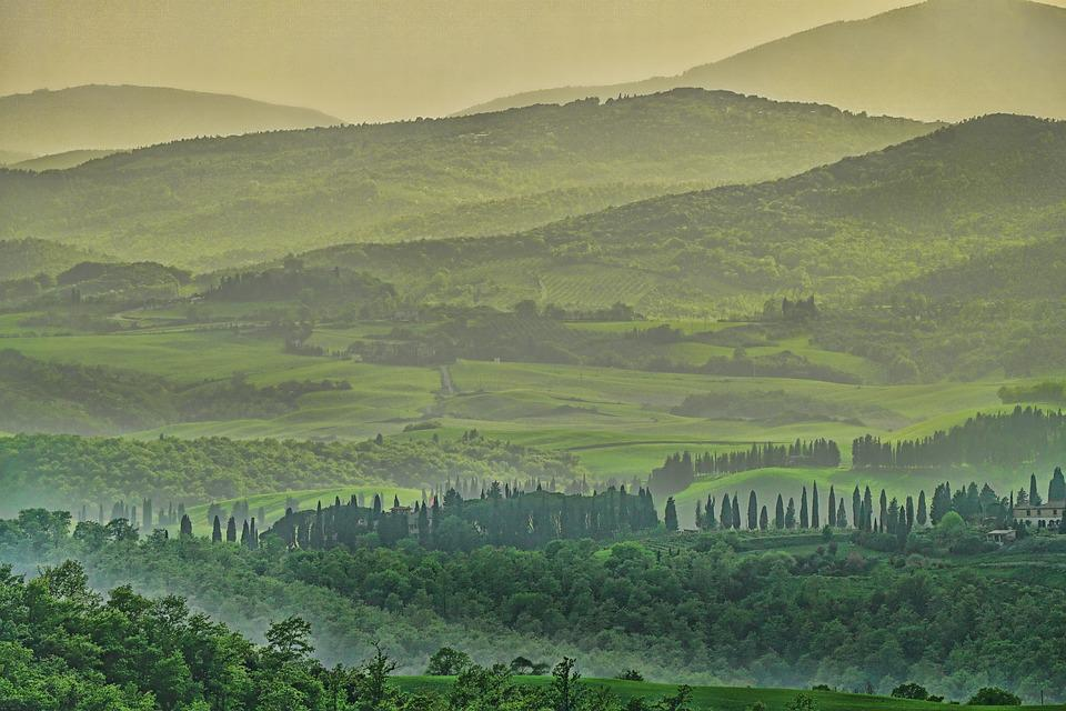 Tuscany, Panorama, Landscape, Forest, Forests, Trees